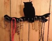 "jewelry holder   ""owl on a branch""  necklace rack  storage  tree organizer   display 12 pegs"