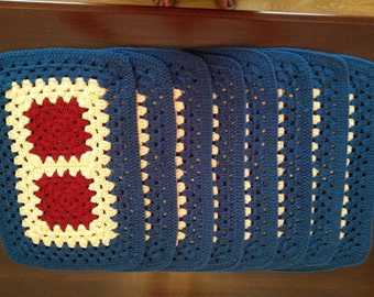 Set of 8 Matching Placemats Crochet Blue, Tan, Red FREE SHIPPING