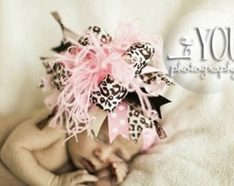 Candy Pink, Cream and Brown Leopard Over The Top  Bow Free Shipping On All Addional Items