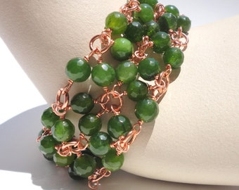 Green Jade Beadmail Bracelet: Dyed Jade Faceted Beads on Copper Wire in Beadmail Cuff Pattern