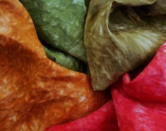 "Hand Dyed Silk Fabric Bundle, Hemp Fabric Bundle, Silk Quilt Fabric 14"" by 18"" Sonora"