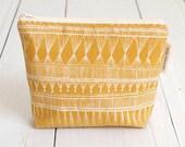 ON SALE!! medium cotton zip pouch - Mustard Market Weave