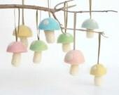 Pastel Toadstool Ornaments 8 Wool Felt Mushroom Decorations Toadstool Woodland needle Waldorf Pink Fairytale Baby Nursery Home Decor Cute