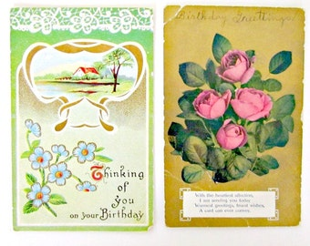 Antique Birthday Card Postcards Lot of 9 1909 to 1922 postmarks