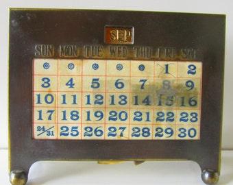 Vintage Brass Perpetual Calender Kronheimer & Oldenbusch 1928 Desk Calendar
