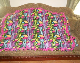 Multi Color Zebra Stripes and Peace Signs Hot Pink Back Fleece Tie Blanket No Sew Fleece Blanket 48x60 Approximate size