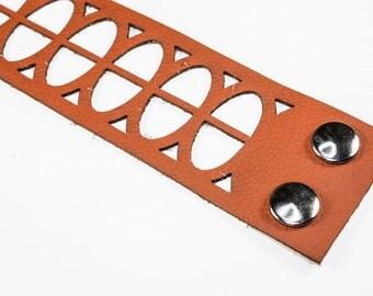 Leather Cuff Bracelet - Oval Cutouts (Caramel Brown) - Size Large