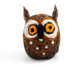 Needle Felted Owl (Dark Brown)