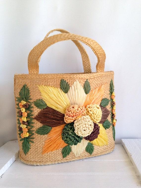 vintage woven straw purse mexican yarn by vintagemindedmaven. Black Bedroom Furniture Sets. Home Design Ideas