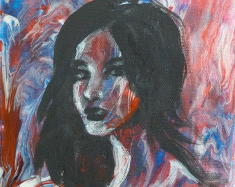 Gaze, Original Acrylic Painting on Canvas, 6x6 Red and Black Portrait of Woman