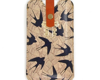 Leather iPhone 6 case / Leather iPhone 5 Case / Galaxy S5 Case - Swallow and Leaf