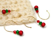 Crochet Stitch Markers Set, Removable, Snag Free, Beaded, DIY Crafts, Gift, Christmas, Red, Green, TJBdesigns