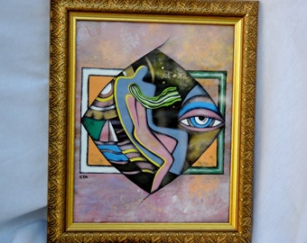 """Abstract original acrylic decorative painting on paper . """" He and She"""".  8 by 10 inches"""