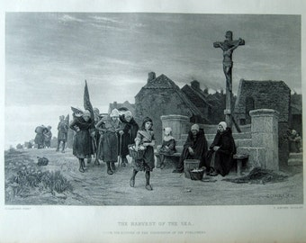 Antique Print of the Harvest of the Sea. Steel Engraving from 1867