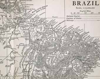 1911 Antique Map of Brazil