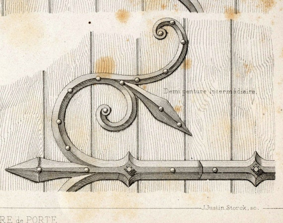 Antique Engraving of Door Fittings. 1880 French Print of Decorative and Architectural Metalwork. Plate 2