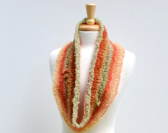 Knit Infinity Scarf...Orange Multicolor Cowl..Autumn Eternity Scarf