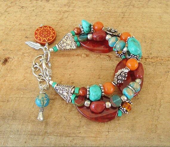 turquoise silver agate boho bracelet