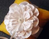 Ring Bearer Pillow - Gold Silk Ring Pillow With Handmade Flower - Jackie