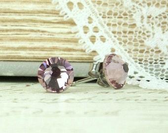Purple Crystal Earrings Purple Studs Crystal Stud Earrings Hypoallergenic Studs Crystal Studs Purple Earrings Surgical Steel