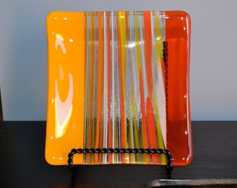 Citrus Punch Fused Glass Plate