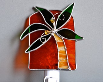 Palm Tree at Sunset Stained Glass Nightlight