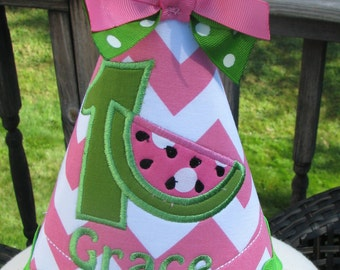 Watermelon birthday party hat, first birthday hat, 2nd birthday  hat,  free personalization, smash cake hat,  party hat, any number and name