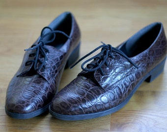 Brown Leather Lace Up Oxford Flats Shoes 8 Vintage 80s