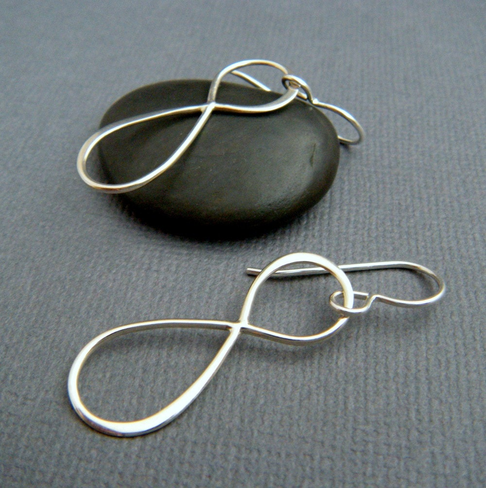 Silver Infinity Hoop Earrings. Large Sterling Silver Dangle