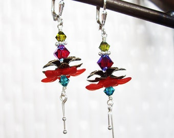 Tropical Beauty in Rich Red - Lucite Flower, Swarovski Crystal, Sterling Silver, Brass, Fuschia, Floral, Abstract Dancer, Hummingbird