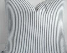 TICKING- Denim Blue and Off White Stripe--Both Sides--Decorative Designer Pillows- Blue /Off White Stripe Throw/Lumbar  Pillow
