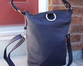 Blue Leather 3 Way Fold Over messenger bag - Royal blue - Ready to ship