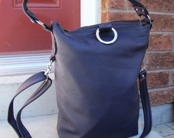 SALE - Blue Leather 3 Way Fold Over messenger bag - Royal blue - Ready to ship