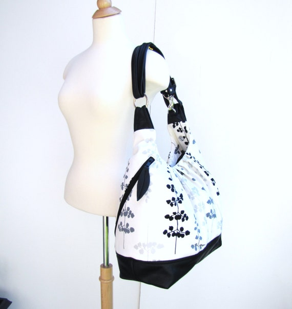 Clearance Sale - Extra large bag Black White Canvas with black leather backpack & messenger