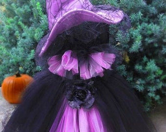 SCARY WITCH COSTUME, Tutu Dress,  Halloween, Dress up, Two Sizes, 2-3 and 4-6 Toddlers,  Bonus Felt and Lace Hat, Parties, Photo Shoots.