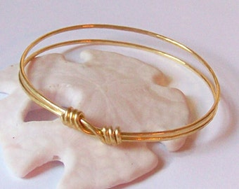 Stackable Bangle - Brass Bangle Bracelet - ECHO - Gold Bangle - Brass - Copper or German Silver - Layered Stacking Bangle - Made to Order