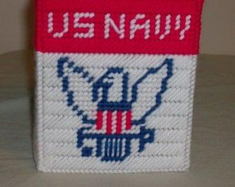 United States Navy Tissue Box Cover, Military Tissue Box Cover, Needlepoint Navy Tissue Box