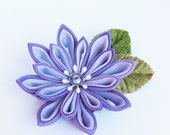 Purple Tsumami Floral Brooch Pin, Silk Flower, Accessory, Pin, Periwinkle and Purple, Hand dyed,Leaf,