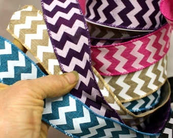 "SALE:Chevron Canvas Ribbon- buy 1 yard get one free by the yard-Pink-Teal-Black-Natural-Pink-Purple-1.5"" wired ribbon"