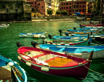 Vernazza, Cinque Terre, Italy Photograph. Fishing Boats in Vernazza - 8x12