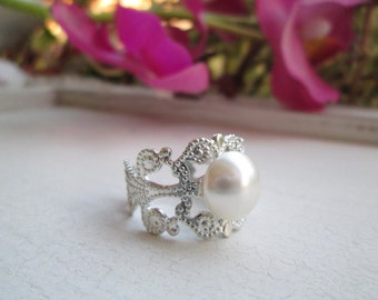Pearl Ring, Swarovski Pearl Ring, Antique Silver, Adjustable Ring