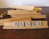 Vintage Wooden Scrabble Tile Holders / Racks Set of 4