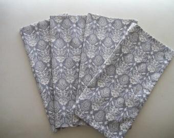 Grey Floral Damask Cotton Napkin Set of 4