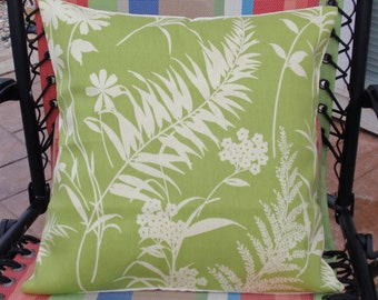 "Throw Pillow Cover, Outdoor Pillow Cover, Decorative Floral Silhouette Spring Leaf in Green Floral Pillow Cover, 16x16"" - LAST ONE"