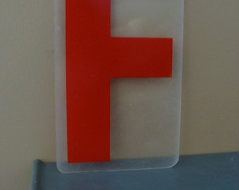 Vintage Industrial Salvaged Acrylic Letter F Tile Block