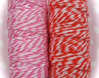 Valentine Lot of  Bakers Twine Red and Pink Stripe Spools