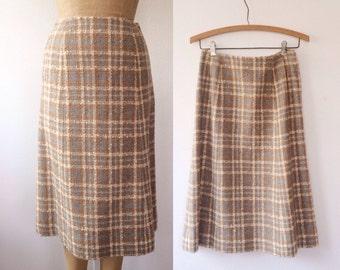 vintage wool Skirt / vintage plaid skirt / Herron Hall skirt