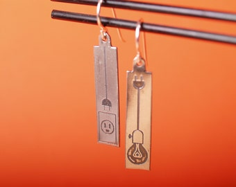 Light Bulb and power socket Sterling Etched earrings