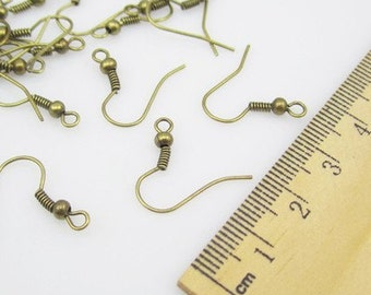 30 piece Antique bronze Earring Hooks Ball & Coil style 30 pc  15 pair