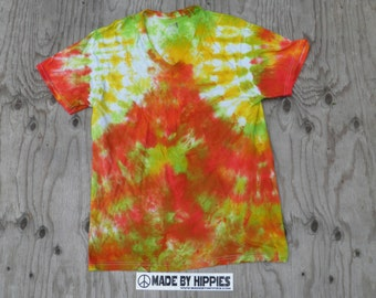 Rastaman Tie Dye T- Shirt (V-Neck) (Fruit of the Loom Size S) (One of a Kind)